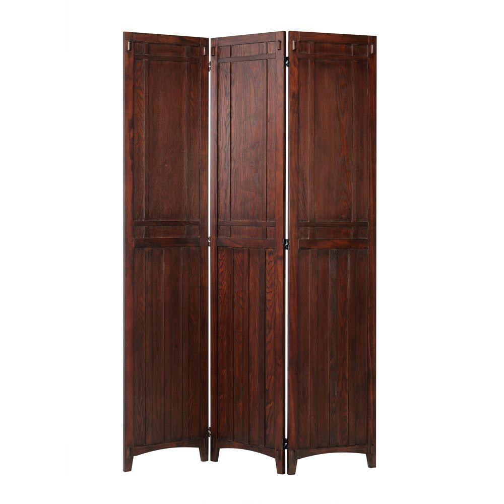 Home Decorators Collection Artisan Macintosh Oak 3-Panel Rustic Folding Screen