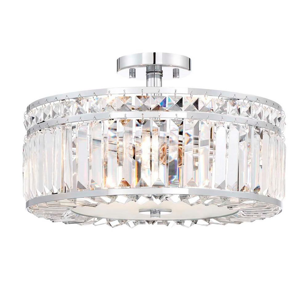 Home Decorators Collection 3-Light Chrome Semi Flush Mount