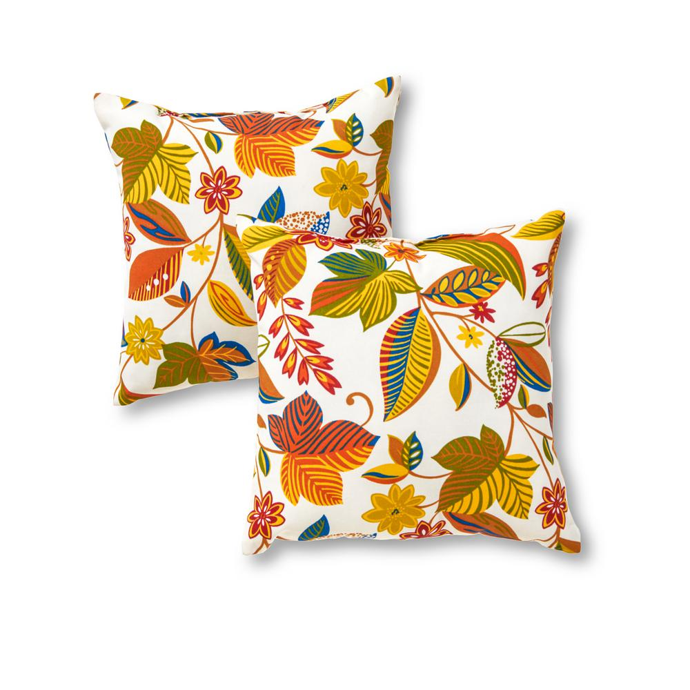 Greendale Home Fashions Esprit Floral Square Outdoor Throw Pillow (2-Pack)