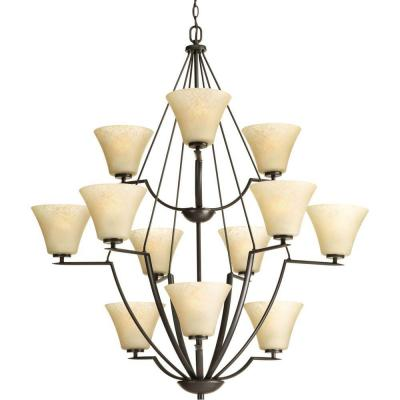 Bravo Collection 12-Light Antique Bronze Chandelier with Umber Linen Glass Shade