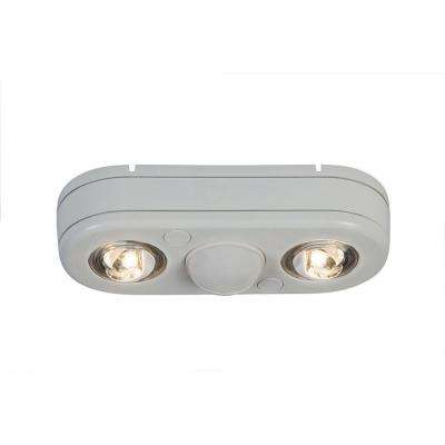 Revolve 180-Degree White Motion Activated Outdoor Integrated LED Twin Head Security Flood Light, 5000K Daylight