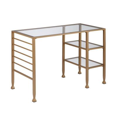 quality design 3a94b 839aa Yes - Glass - Gold - Desks - Home Office Furniture - The ...