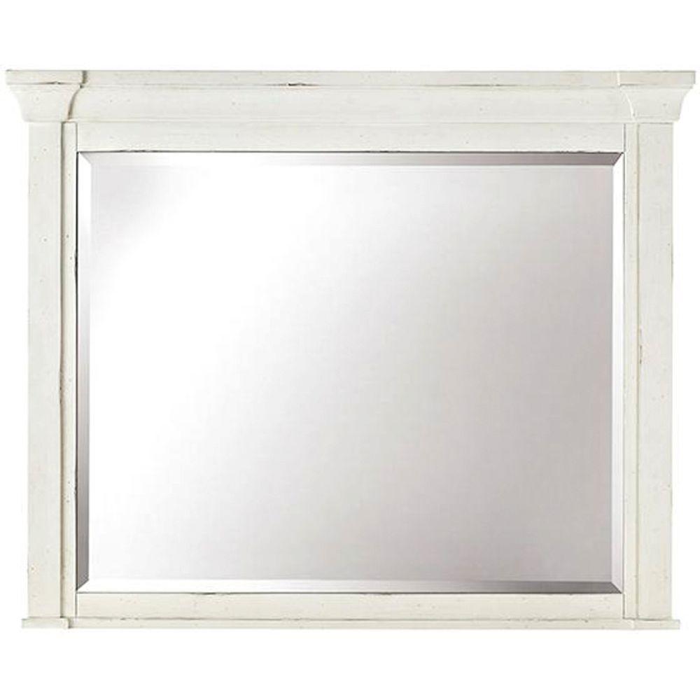 Bridgeport 37 in. x 46 in. Antique White Framed Mirror