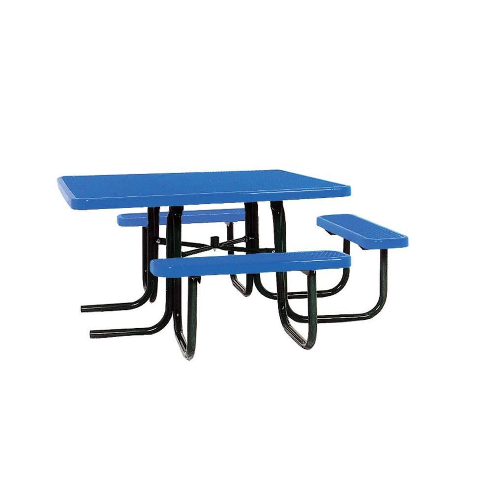 Ultra Play 46 in. x 55 in. Diamond Blue Commercial Park Surface Mount and Portable ADA Square Table