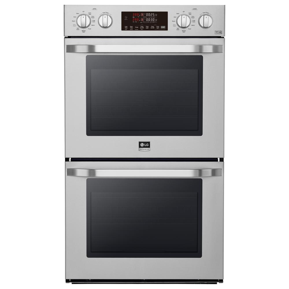 LG STUDIO 30 in. Double Electric Wall Oven with Self-Cleaning in Stainless Steel