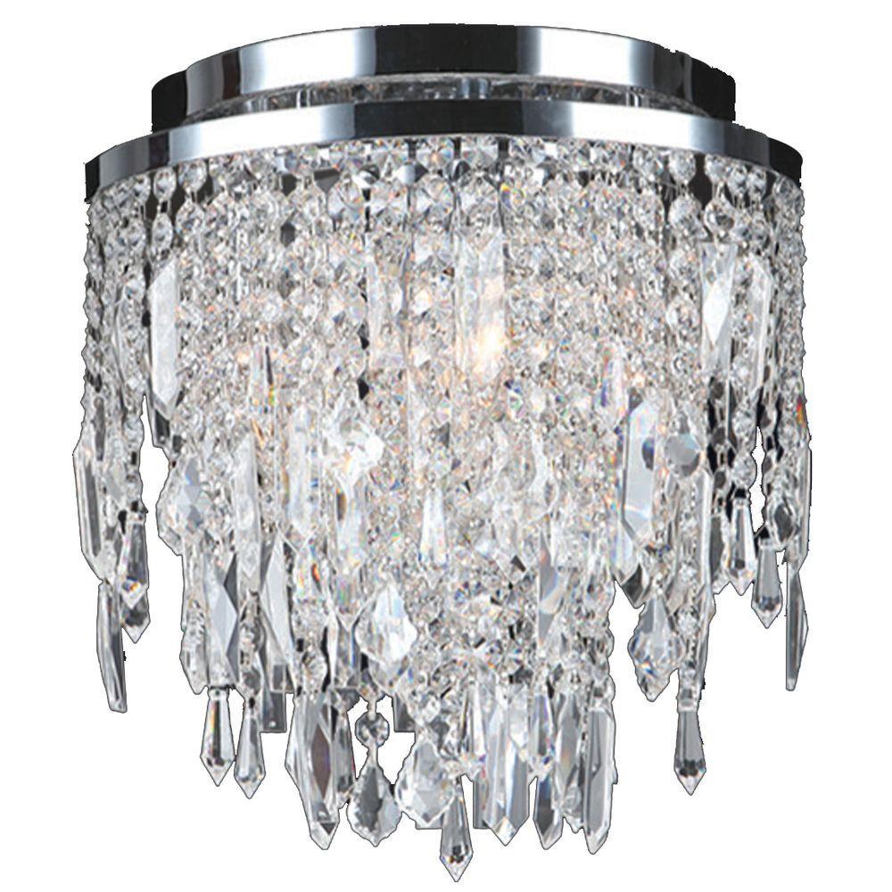 Worldwide Lighting Tempest Collection 4-Light Chrome Crystal Ceiling Flush Mount