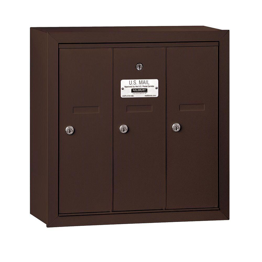 3500 Series Bronze Surface-Mounted Private Vertical Mailbox with 3 Doors