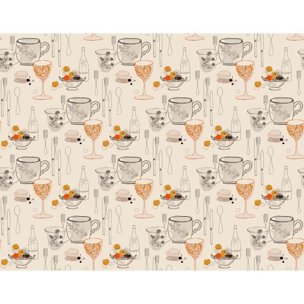 York Wallcoverings Graphic Tableware Wallpaper