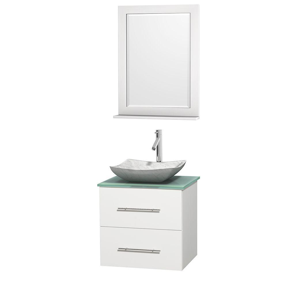 Wyndham Collection Centra 24 in. Vanity in White with Glass Vanity Top in Green, Carrara White Marble Sink and 24 in. Mirror
