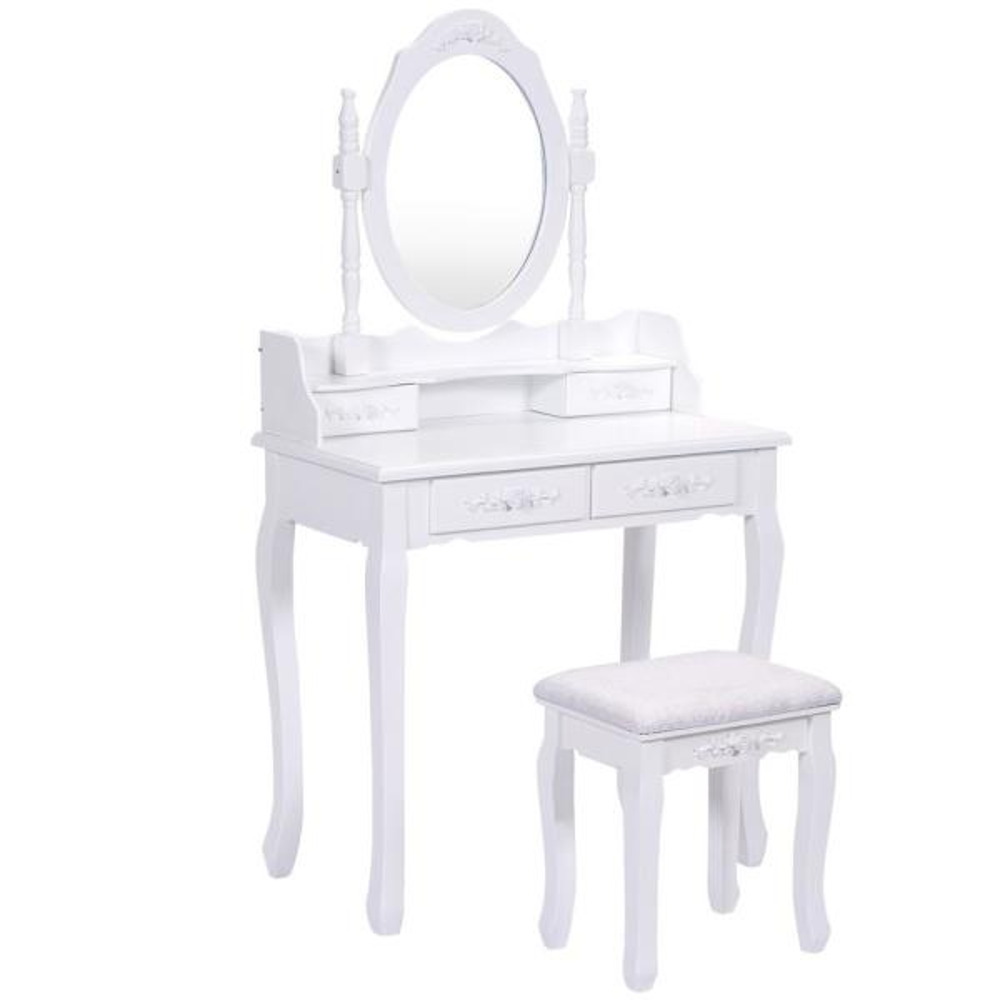 3-Piece White Living Room Set Vanity Wood Makeup Dressing Table Stool Set Bathroom with Mirror 4 Drawers