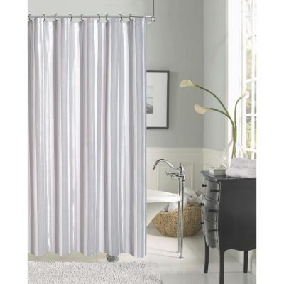 Carlton 72 in. Silver Stripe with Lurex Shower Curtain