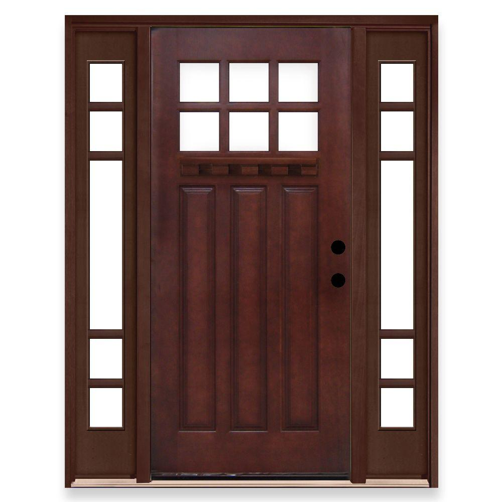 Steves & Sons Craftsman 6 Lite Stained Mahogany Wood Left-Hand Prehung Front Door with 5 Lite Sidelites-DISCONTINUED