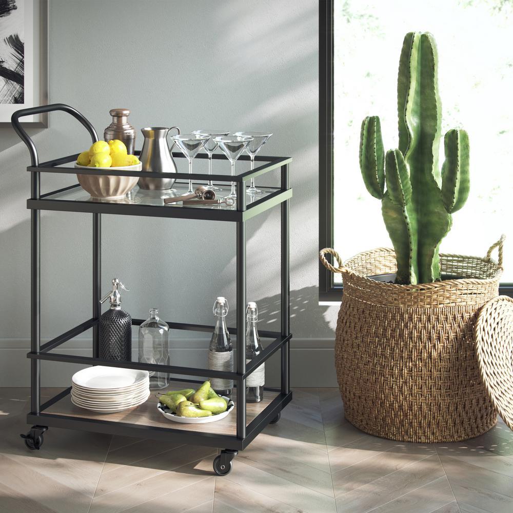 Nathan James Carter 2-Tiered Matte Black Metal Frame Glass Bar and Serving Cart with Wood Shelf