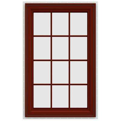 35.5 in. x 47.5 in. V-4500 Series Right-Hand Casement Vinyl Window with Grids - Red
