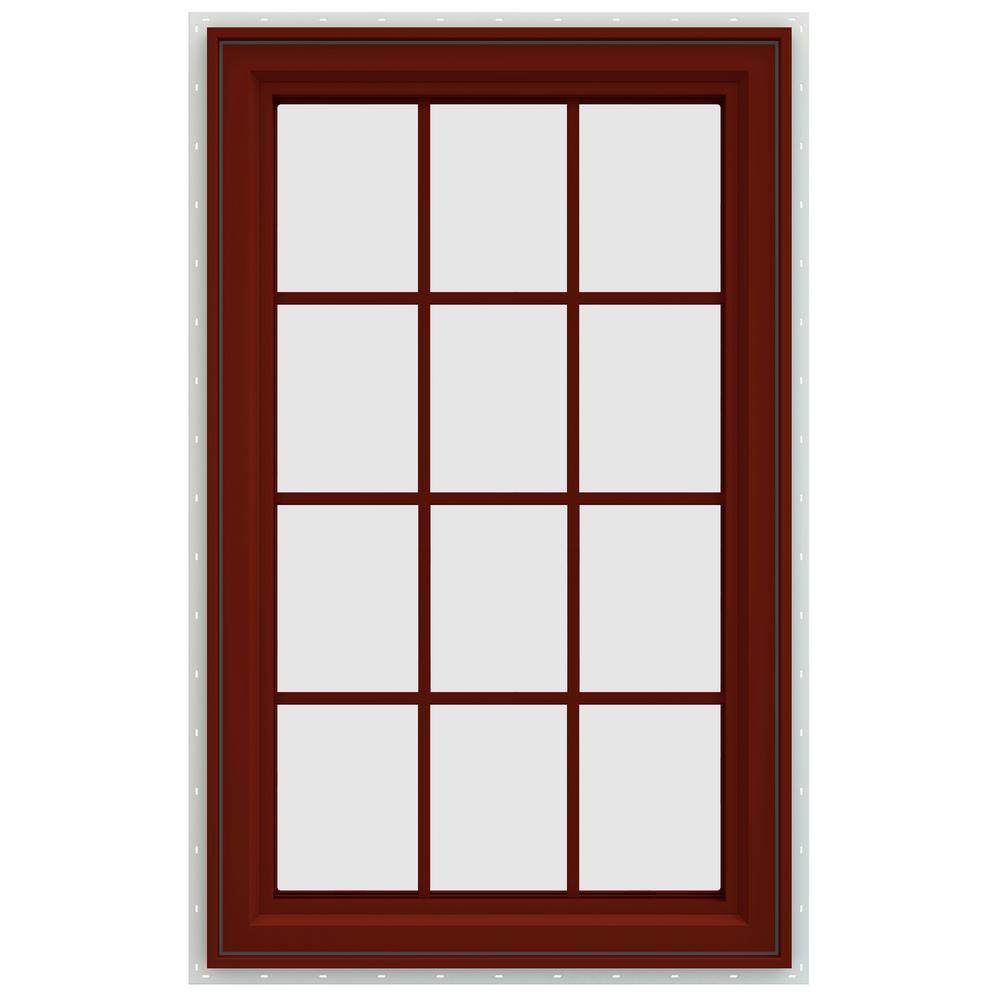 35.5 in. x 47.5 in. V-4500 Series Left-Hand Casement Vinyl Window with Grids - Red