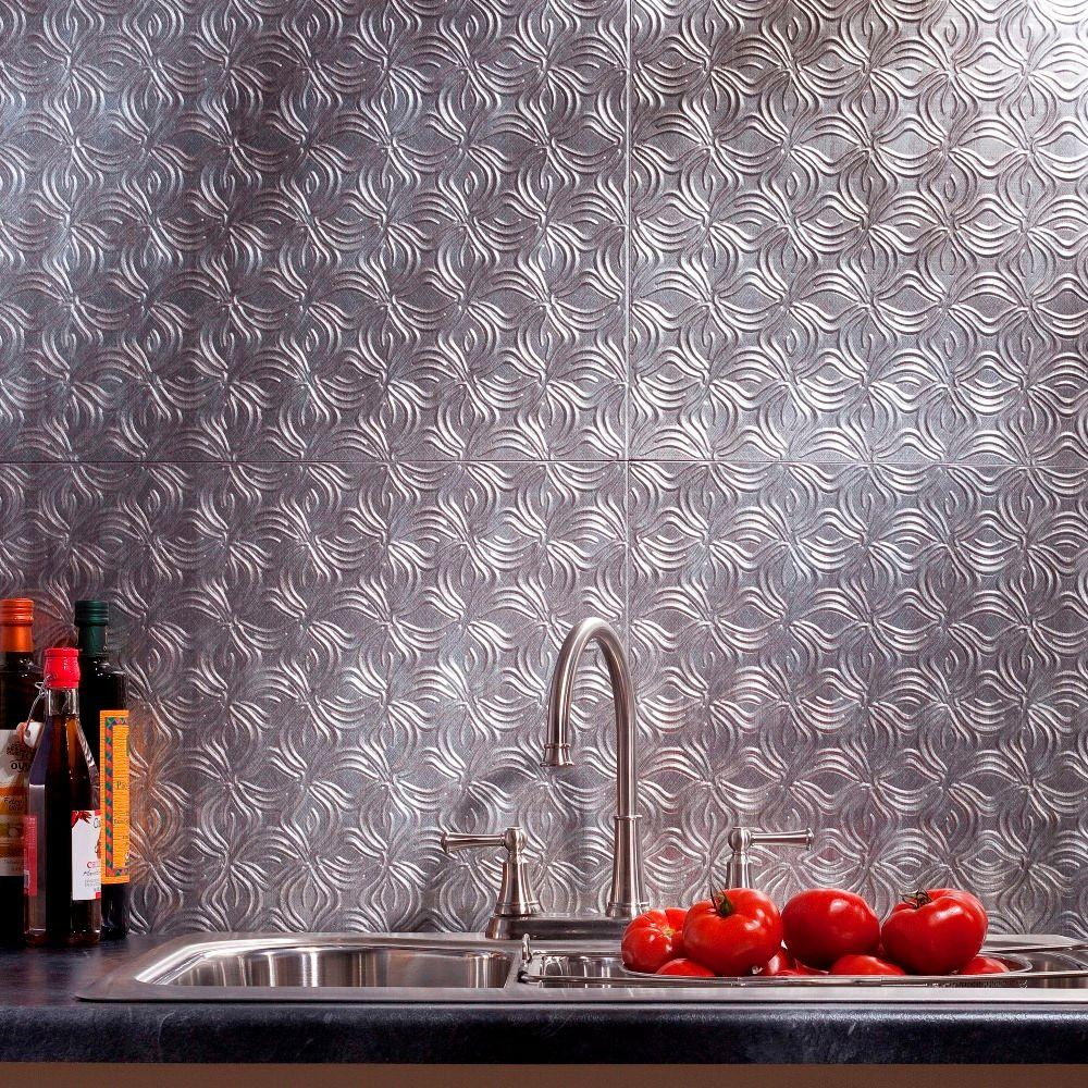 24 in. x 18 in. Lotus PVC Decorative Tile Backsplash in