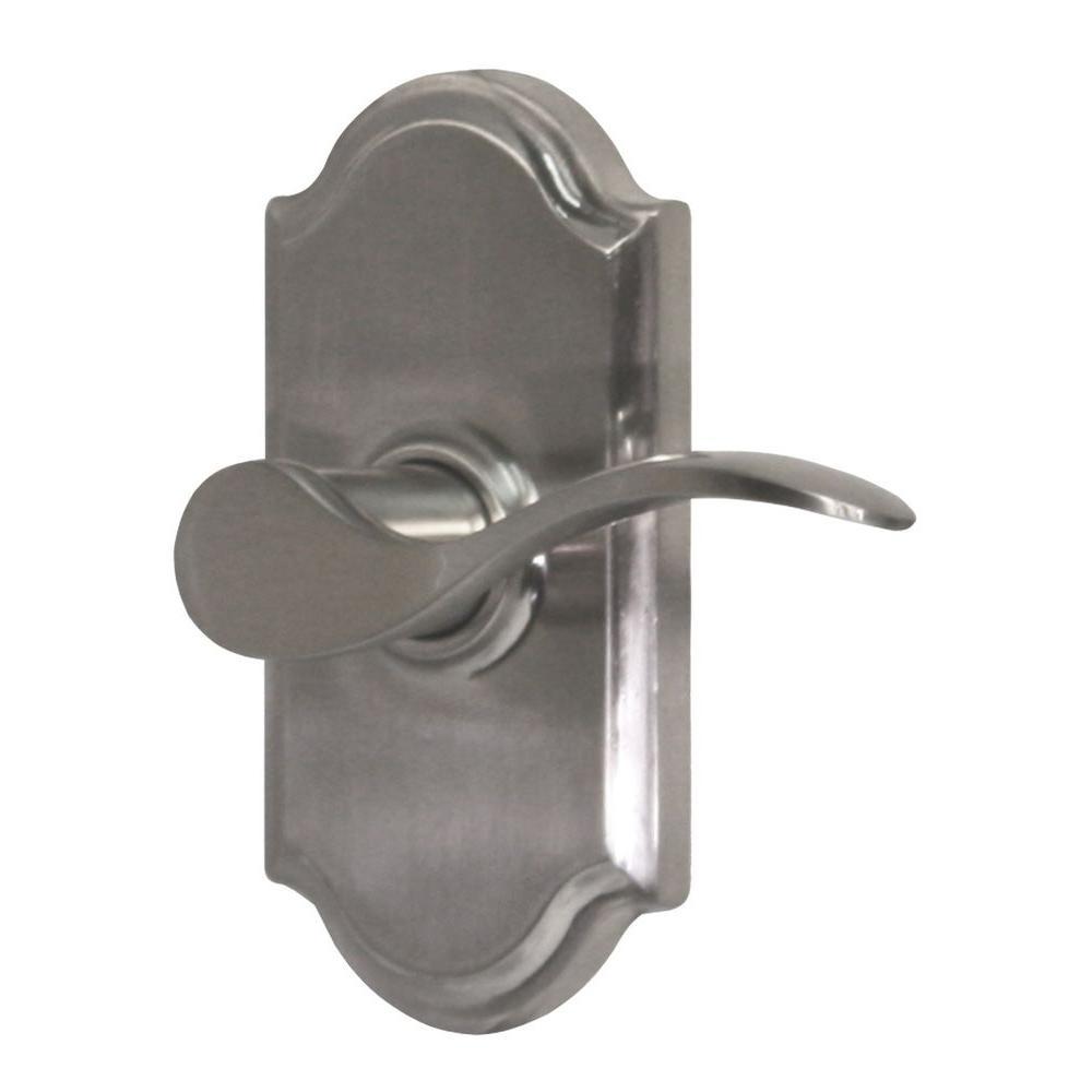 Elegance Satin Nickel Right-Hand Premiere Privacy Bed/Bath Bordeau Door Lever