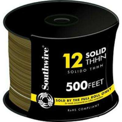 (By-the-Foot) 12 Brown Solid CU THHN Wire