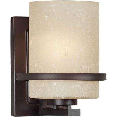 1-Light Antique Bronze Sconce with Umber Linen Glass