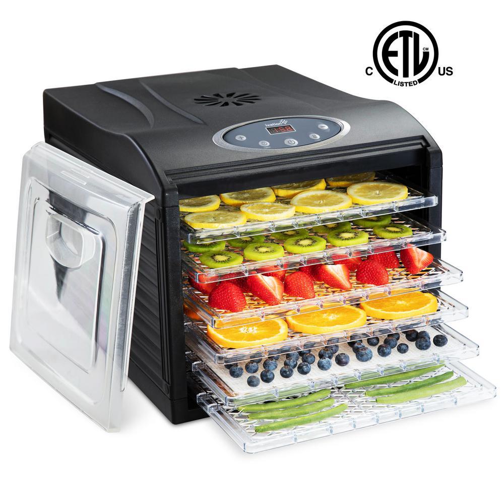 6 Tray Countertop Digital Food Dehydrator Drying Machine Preset Temperature Settings, Auto Shutoff Timer