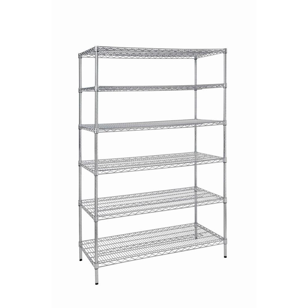 HDX 6-Tier Steel Garage Storage Shelving Unit in Chrome (48 in. W x 72 in. H x 24 in. D)