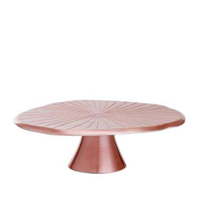"""14-1/2 in. D Rose Gold """"Lily Pad"""" Cake Stand"""