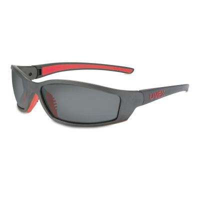SolarPro Safety Glasses with Photochromic Tint Anti-Fog/Anti-Scratch Lens and Gray/Red Frame