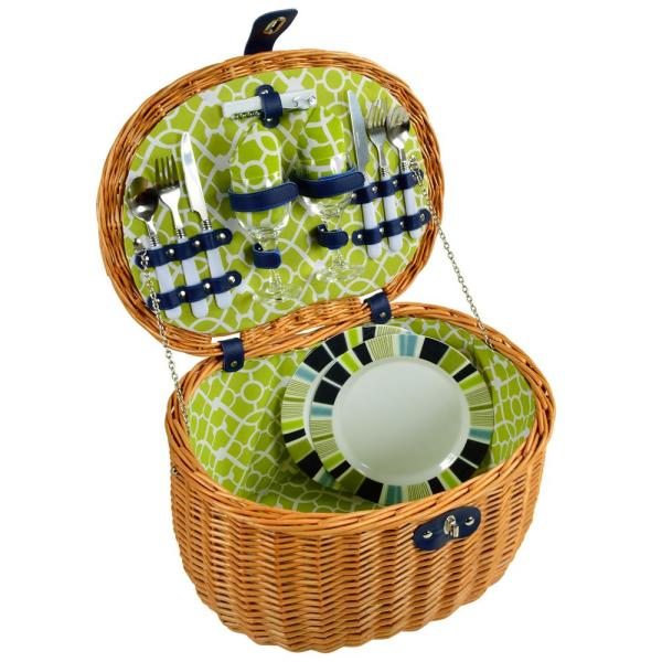Ramble Picnic Basket with Service for 2 in Trellis Green 715-TG