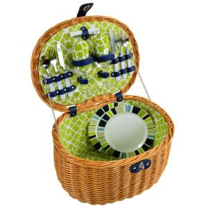 Ramble Picnic Basket with Service for 2 in Trellis Green by