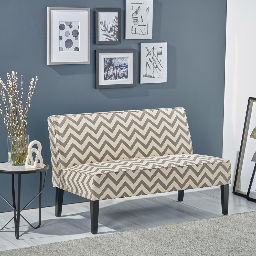 Pleasing Noble House Dejon Dark Gray Zigzag Patterned Fabric Loveseat Ibusinesslaw Wood Chair Design Ideas Ibusinesslaworg