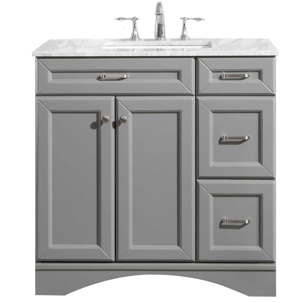ROSWELL Naples 36 in. W x 22 in. D Vanity in Grey with ...