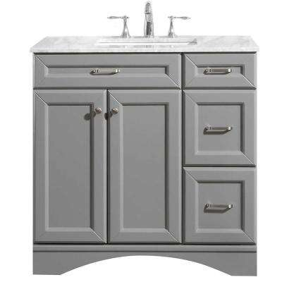 Naples 36 in. W x 22 in. D Vanity in Grey with White Marble Vanity Top in White with White Basin