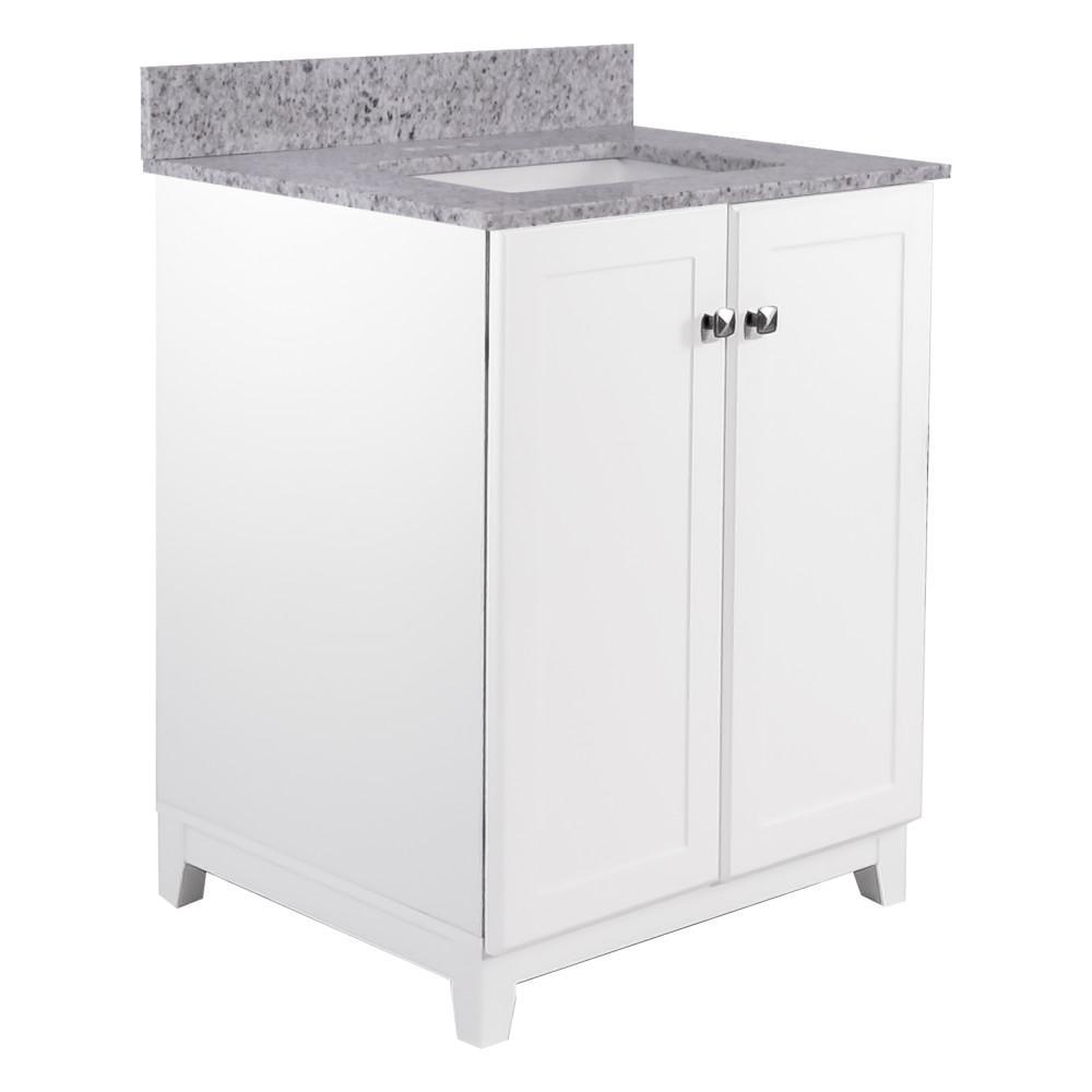 48 in. x 21 in. x 33 in. Bath Vanity in White w/ 4 in. Centerset Kashmir White Granite Vanity Top w/ White Basin