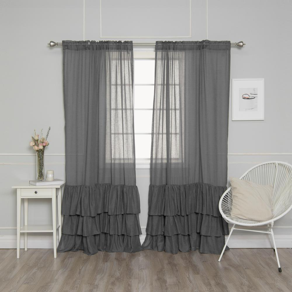 best home fashion dark grey 84 in l faux linen bottom. Black Bedroom Furniture Sets. Home Design Ideas