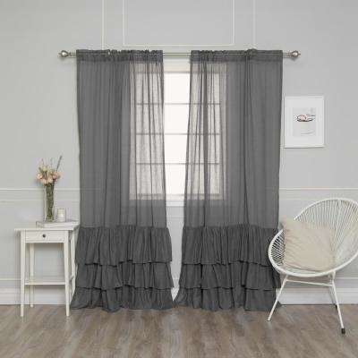 L Faux Linen Bottom Ruffle Curtain (2 Pack)