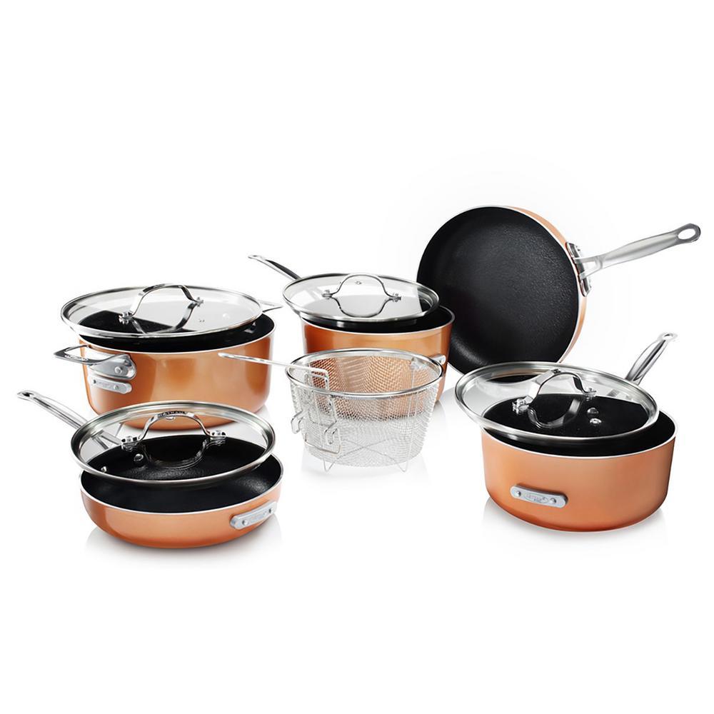 StackMaster 10-Piece Aluminum Ultra-Nonstick Cast Textured Ceramic Coating Cookware Set