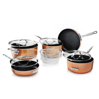 StackMaster 10-Piece Aluminum Ultra-Nonstick Cast Textured Ceramic Coating Cookware Set
