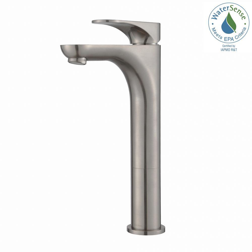 KRAUS Aquila Single Hole Single-Handle Bathroom Faucet Brushed Nickel