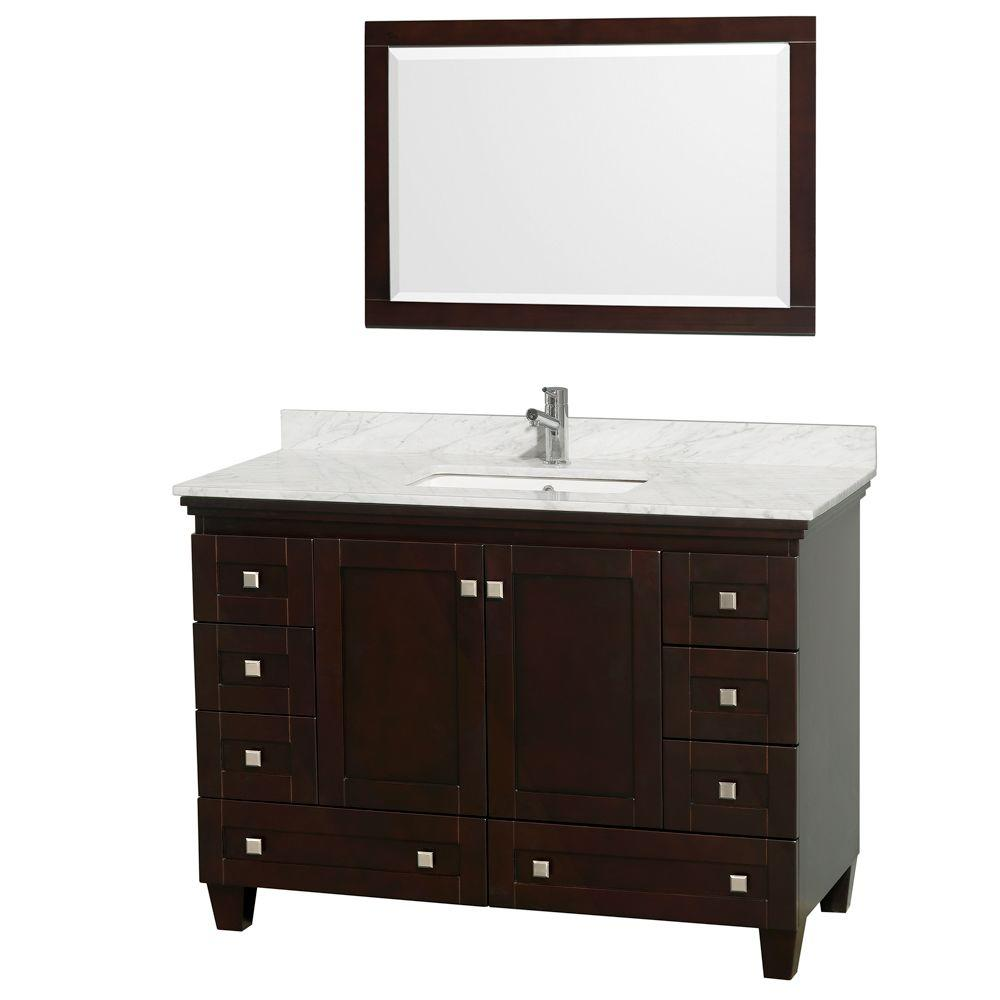 Wyndham Collection Acclaim 48 In Vanity Espresso With Marble Top Carrara White Square Sink And Mirror