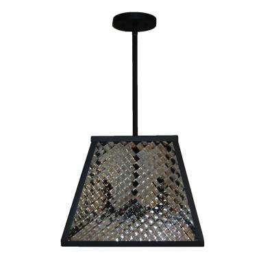 2-Light Black Pendant with Textured Glass