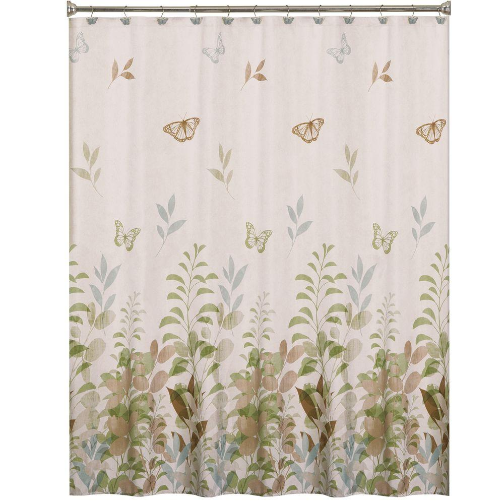 Saturday Knight Fluttering 70 In. W X 72 In. L Fabric Shower Curtain