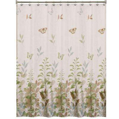 Fluttering 70 In W X 72 L Fabric Shower Curtain