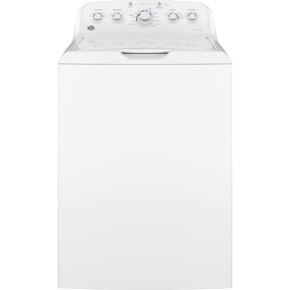 GE 4.2 cu. ft. High-Efficiency White Top Load Washing Machine with Stainless Steel Tub