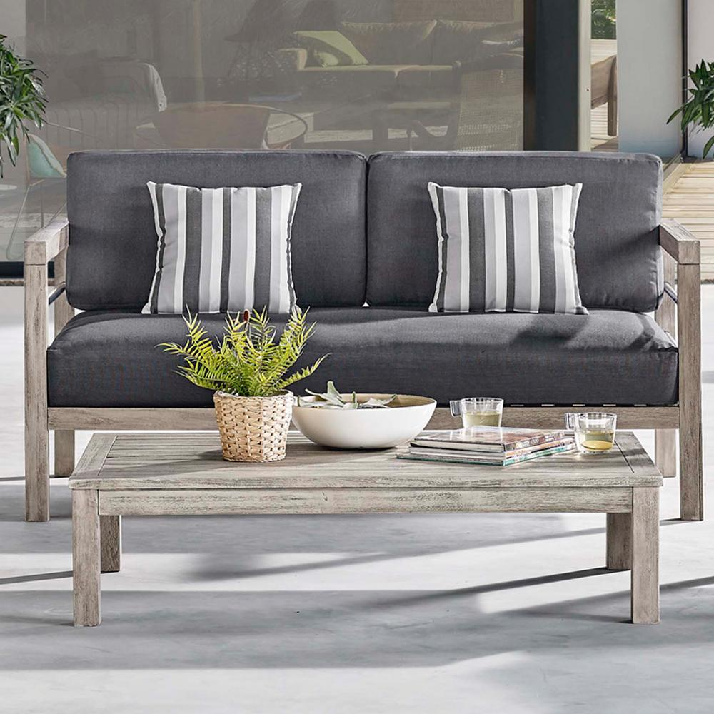MODWAY Wiscasset Acacia Wood Outdoor Coffee Table in Light ...