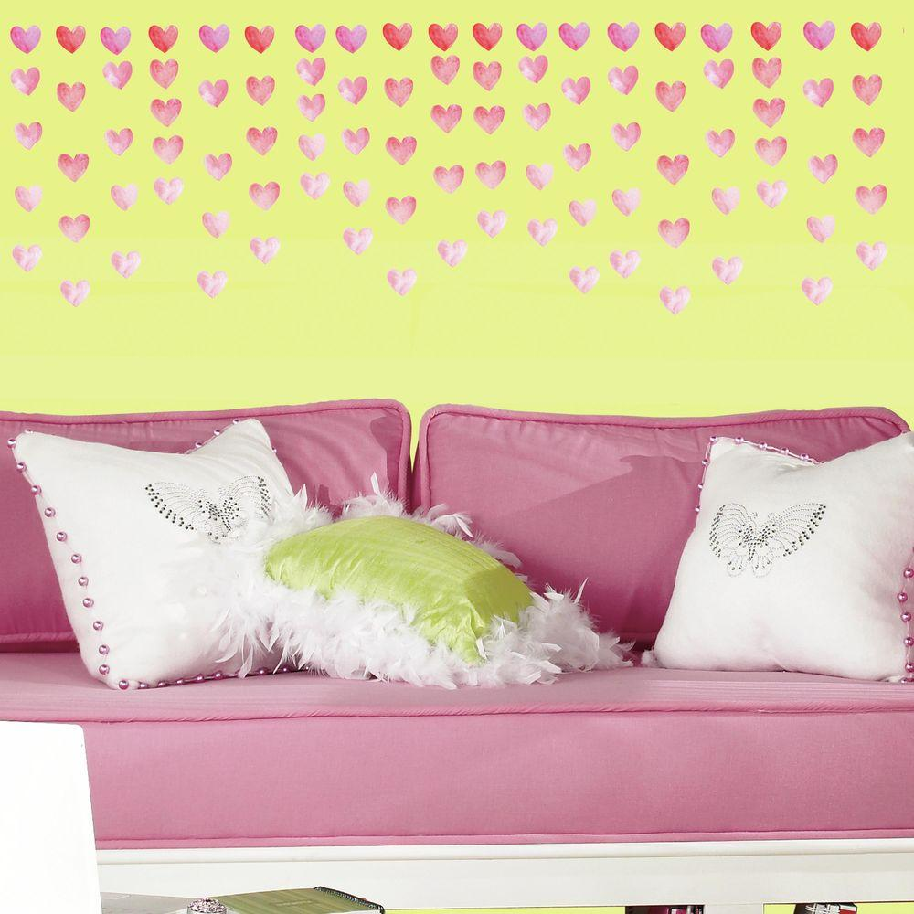 RoomMates 5 in. x 11.5 in. Watercolor Heart Peel and Stick Wall ...