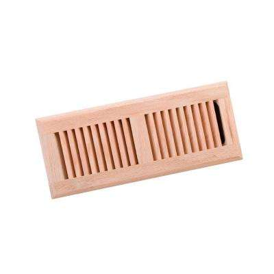 4 in. x 12 in. Wood Red Oak Unfinished Surface Mount Register