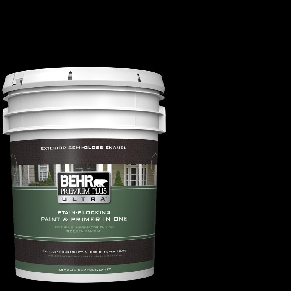 Behr Premium Plus Ultra 5 Gal Black Semi Gloss Enamel Exterior Paint And Primer In One 585305