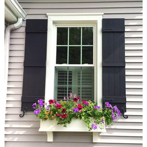Ekena Millwork 16 1 4 In X 85 In Lifetime Vinyl Custom Four Board Spaced Board And Batten Shutters Pair Wineberry Ls4c16x08500wn The Home Depot