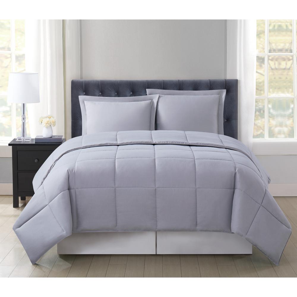 Reversible Down Alternative Comforter Set Full//Queen Pink//Grey Bedding Cover