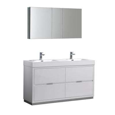 Valencia 60 in. W Vanity in White with Acrylic Double Vanity Top in White with White Basin and Medicine Cabinet